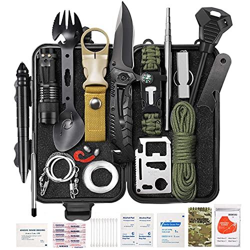 Survival Gear Kit 59 en 1, SOS Earthquake Aid Equipment Equipo de emergencia Pesca Caza Regalos de cumpleaños Ideas para hombres Mujeres Familias Regalos para hombres Papá Esposo Día del padre