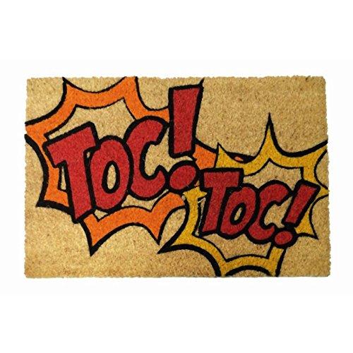 """Koko Doormats Felpudo para Entrada de Casa """"Toc Toc"""" Original y Divertido/Fibra Natural de Coco con Base de PVC, 40x60 cm"""