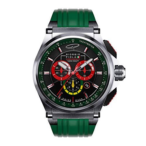 Giorgio Piola Men's Strat-3 Green Sport Chronograph Watch (Brushed Titanium)