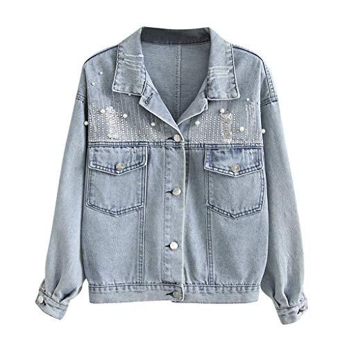 Lulupi Damen Jeansjacke mit Perlen, Übergangsjacke Denim Jeans Jacket Zerrissene Oversized Jacke Mädchen Frühling Sommerjacke