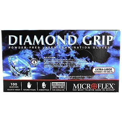 "Microflex MF-300-XL PK High Five Products Inc, Micro Flex Diamond Grip Latex Gloves, XL, 100/Pack, 3.5"" Height, 5"" Width, 9.25"" Length (Pack of 100)"
