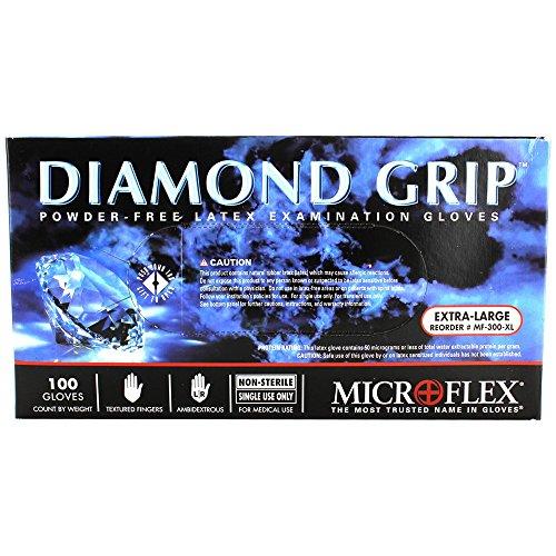 Microflex MF-300-XL PK High Five Products Inc, Micro Flex Diamond Grip Latex Gloves, XL, 100/Pack, 3.5' Height, 5' Width, 9.25' Length (Pack of 100)