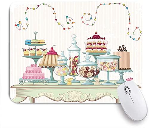 HASENCIV Alfombrilla de Ratón,Apetitosos Pasteles y frascos de Vidrio colocados sobre una Mesa Elegante, Adornos Vibrantes en Forma de Remolino,Alfombrilla de ratón Gaming,Mouse Pad