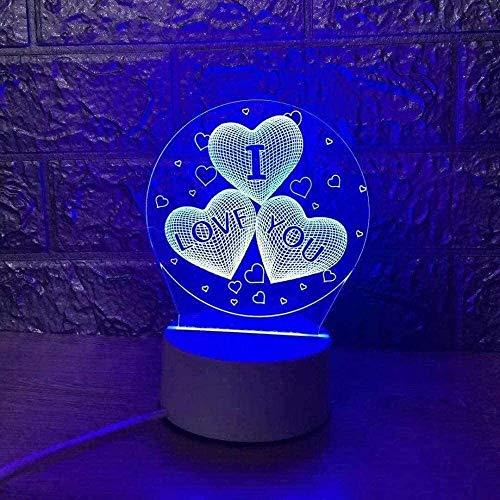 Luz de noche LED 3D Sanxin AMOR luz de la noche, regalos de cumpleaños de Navidad lámpara de mesa LED ilusión 3D for los hombres adultos de chicas Bebé niño de 7 colores del cuarto de niños de Hallowe