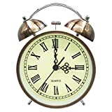 COOJA Vintage Reloj Despertador de Doble Campana con Sonido Fuerte, Alarma Despertador sin Tic TAC Silencioso Analogico Despertadores de Viaje para Infantil Juvenil Niña (4.5 Pulgadas)