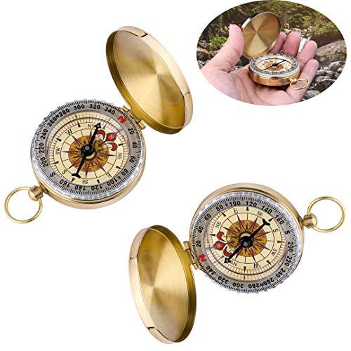 inherited 2 Stück Messing Taschenkompass, Portable Kompass Outdoor, Portable Wasserdicht Kompass mit Leuchtziffern, Taschenkompass für Camping, Wandern und andere Outdoor Aktivitäten