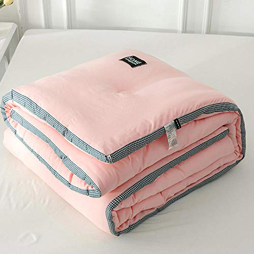 Anti Dust Mite & Down Proof Fabric,Autumn and winter washed cotton winter quilt, houndstooth three-dimensional thickened warmth student gift quilt-Pink_200*230cm/79 * 91'/6.2LB