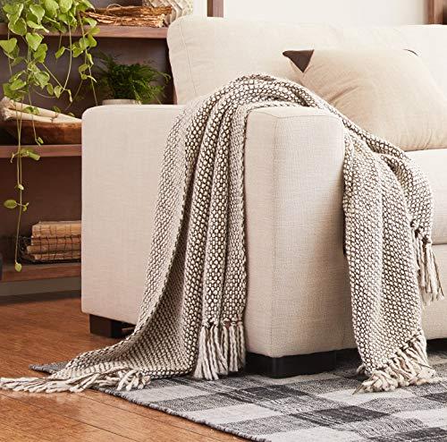 "Amazon Brand – Stone & Beam Woven Farmhouse Throw Blanket, Soft and Cozy, 50"" x 60"", Grey, Brown and White"