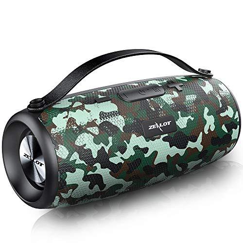 Zealot Bluetooth-Lautsprecher, Stereo, kabellos, mit Powerbank, 20 Stunden Laufzeit, Dual-Treiber, 20 W, Bluetooth 5.0, wasserdicht, Subwoofer, starke Bass, AUX/TF/Freisprecheinrichtung, Camouflage
