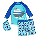 キッズ 水着 ラッシュガード ベビー ジュニア 男の子 可愛い 帽子 半袖上下セット 水着 子供 ボーイズ 水遊びプール セパレート スイムウェア 船花柄 M