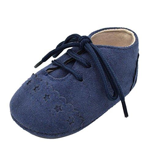 Chaussures de Bébé, LuckyGirls Chaussures au Lacet Chaussures de Premier Pas en Coton Dentelle Etoiles Anti-dérapante Chaussures pour Bambin Sneaker (Âge: 6~12 Mois, Bleu Foncé)