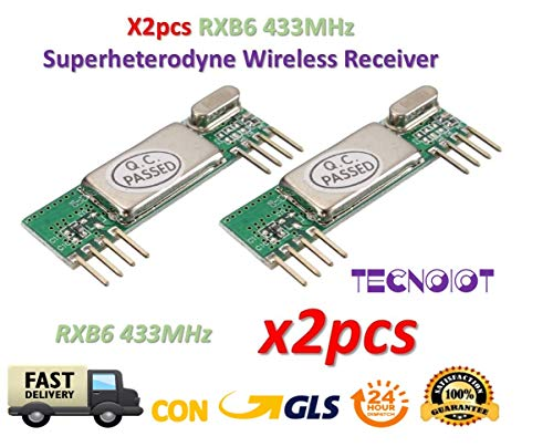 TECNOIOT 2pcs RXB6 433MHz Superheterodyne Wireless Receiver Module