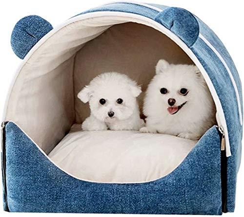 Casa para Perros Removible Y Lavable Tipo De Casa Cerrada Perrera para Gatos Interior Cueva para Gatos Nido para Mascotas para Mantener El Calor En Invierno Suministros para Mascotas Azul M