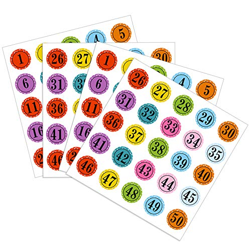 Number Stickers Colorful Round Number Labels Decorative Number Stickers 1 - 50 Adhesive Stickers for School Learning Decorations (4)