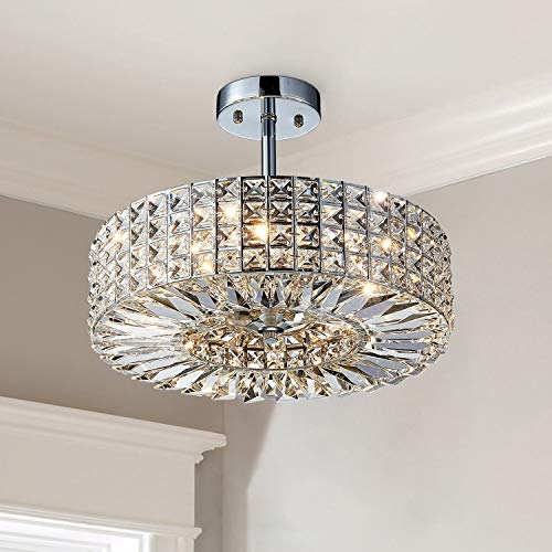 Saint Mossi Modern Crystal Semi Flush Mount with 5 Lights,K9 Crystal Ceiling Light,Close to Ceiling Light Fixture for Dining Room,Livingroom,Bedroom,H11' X D16'