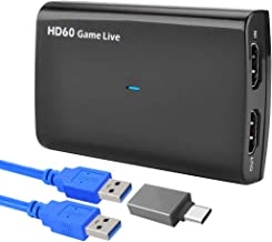 Y&H HDMI Game Capture Card 4K Screen Record up to 1080p 60fps,USB3.0 UVC Video Recorder Device Box,Game Broadcast Live Streaming Capture Card for Nintendo Switch,PS4,Xbox One 360,DSLR,with Mic Input