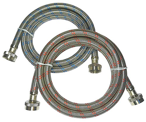 Premium Stainless Steel Washing Machine Hoses, 4 Ft Burst Proof (2 Pack) Red and Blue Striped Water Connection Inlet Supply Lines - Lead Free