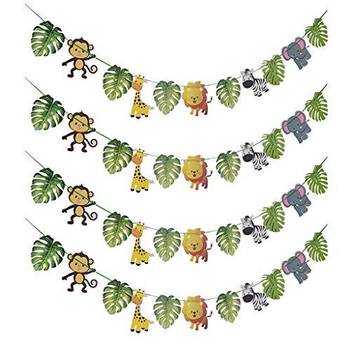 IPOTCH 4X Cartoon Tier Papier Banner Girlande Für Kinder Party Outdoor2.73 Yard