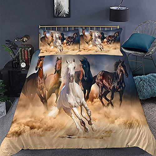 KIrSv Jun Horse Funda de Almohada con diseño de impresión en 3D, la Ropa de Cama de Animales Favorita para niños y niñas, Adecuada para una Cama Individual Doble tamaño king-20_200 * 230cm (3 Piezas)