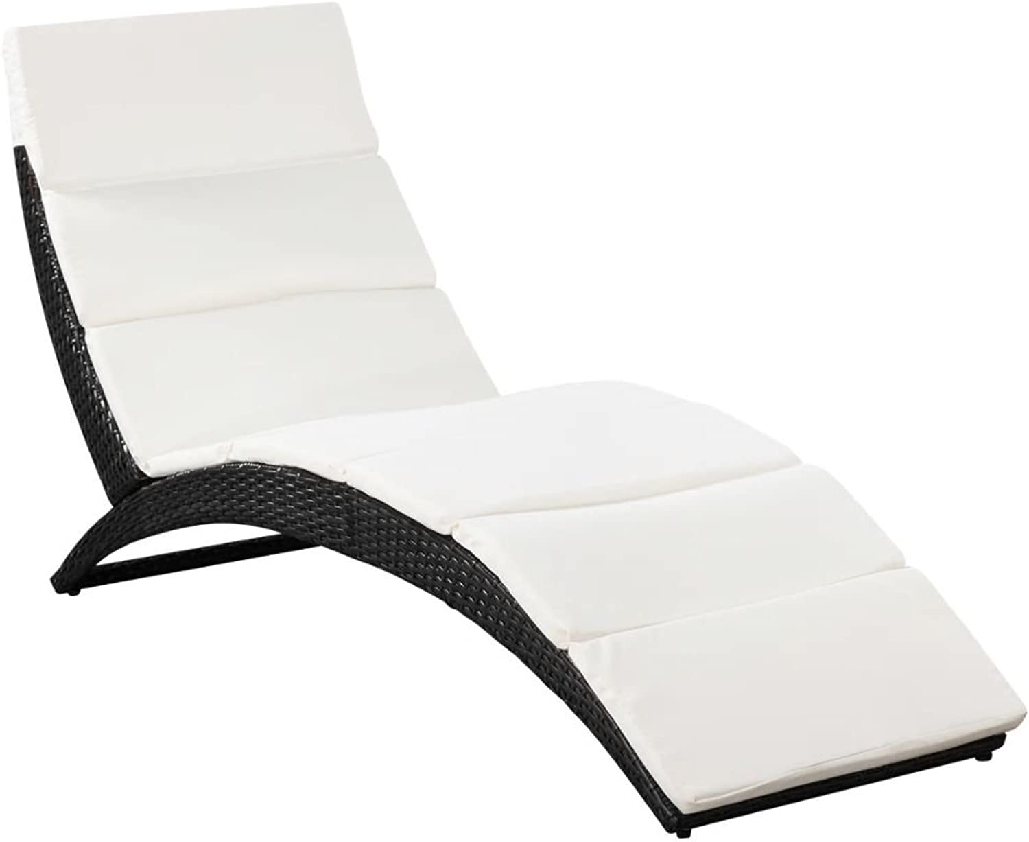 Festnight Folding Sunlounger Outdoor Sun Bed with Removable Cushion Pool Side Lounger Poly Rattan Black