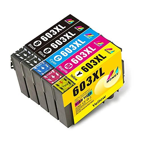 MONDY 603XL cartridge compatibel voor 603XL inktpatronen voor Epson Expression Home XP-2100 XP-4100 XP-4105 XP-2105 XP-3100 XP-3105 WorkForce WF-2850 WF-2810 WF-2830 WF-2835 5-pack printe