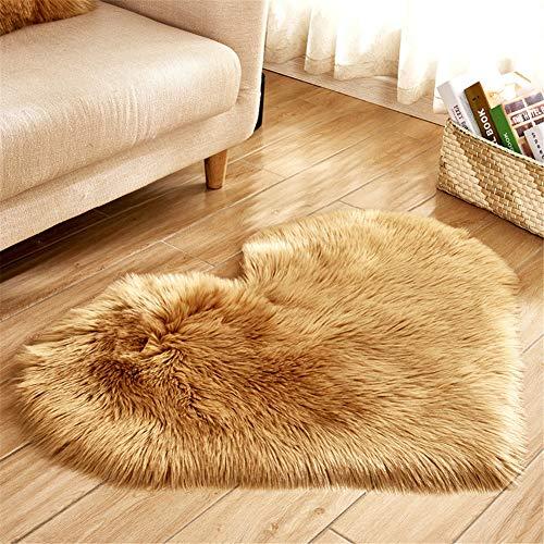 DOILE Alfombra de felpa similar a lana, en forma de corazón, para decorar el salón y el dormitorio, gruesa y duradera, lavable (70 x 90 cm)