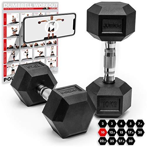POWRX Hexagon Kurzhanteln 2er Set gummiert   Hantel-Set 2 x 5 kg, 2 x 7,5 kg, 2 x 10 kg, 2 x 12,5 kg, 2 x 15 kg, 2 x 17,5 kg, 2 x 20 kg, 2 x 22,5 kg, 2 x 25 kg, 2 x 27,5 kg, 2 x 30 kg, 2 x 32,5 kg (15 kg)