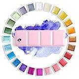 Paul Rubens Artista Pinturas de Acuarela-Brillo Colores Sólidos-Rosa Estuche de Metal Portátil con Paleta-24 Colores Glitter