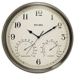 Westclox 49832 Indoor/Outdoor Clock with Temperature & Humidity Gauges, Silver