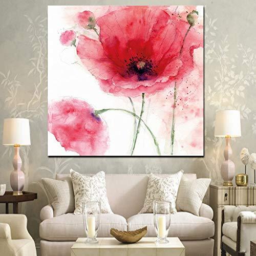 wZUN Cuadro de Pared de Arte Pop con Pintura al óleo de impresión HD de Amapolas Rojas sobre Lienzo 60x60 Sin Marco