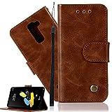 LG Stylo 2 Plus Leather Case LG LS775 Wallet Case ISADENSER Minimalist Vintage Premium Soft PU Shock Resistance with Stand Function Credit Cards Holder Money Pocket Cover for LG LS775 Retro Brown JX