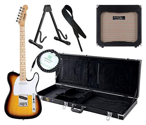 Shaman Element Series TCX-100VS Komplett Set - E-Gitarre - Modeling-Verstärker - Koffer - Ledergurt - Ständer - Kabel - Sunburst