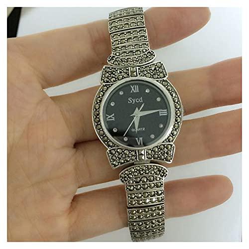 CHXISHOP Reloj de Pulsera de Las Mujeres Reloj Redondo de Cuarzo 925 Sterling Silver Sapphire Espejo de Cristal Dial Inlaid Diamond Gothic Watch Black-M