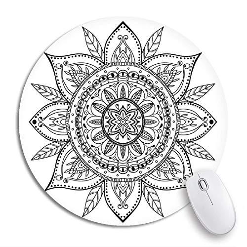HENTIN 7,9 * 7,9 Zoll Runde Mauspad Boho Malvorlagen Schöne Mandala Henna Bohemian Muster Tattoo rutschfeste Gummibasis Mausmatte Gaming Mousepad