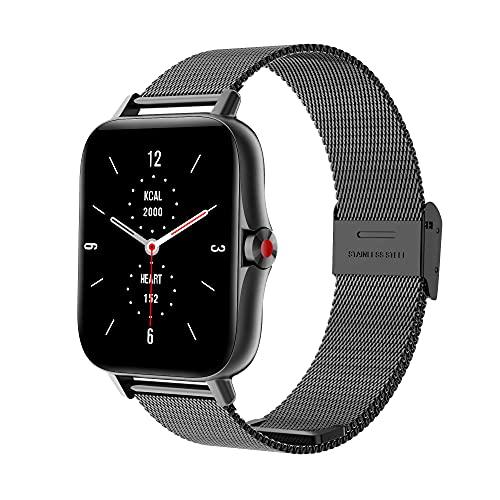WSJZ Reloj Inteligente I18,Pulsera Inteligente A Prueba De Agua IP67,Pantalla Táctil Redonda Monitor De Actividad Física con Frecuencia Cardíaca,para iPhone/Android,Diseñado para Mujeres,D
