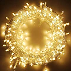 Safety String Lights- Warm white 200 LED lights, powered by electronic. Widely use to hanging Christmas tree and toys. 29V low voltage plug with UL certified for safety use. Length between lights : 3.9 Inches/ 10cm. Total Length: 83ft. Extendable- 66...