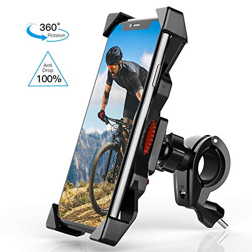 Bike Phone Mount Holder 【2020 Safest】 Anti Shake Universal Cell Phone Holder for Bicycle Mount 360° Rotation Bicycle & Motorcycle Handlebar for iPhone Samsung Any Smartphones Between 4.7 to 6.8 inches