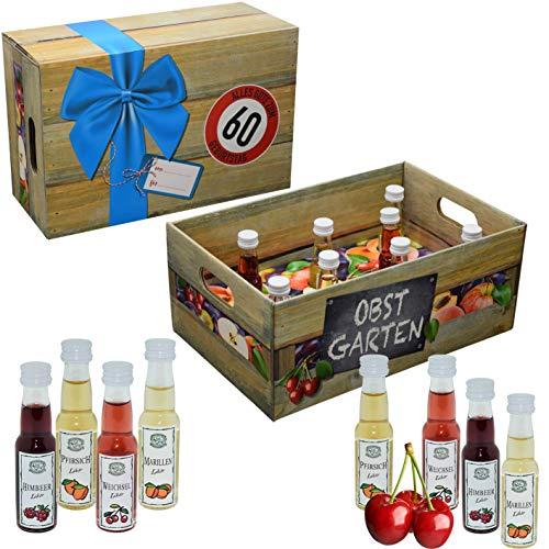 Obstgarten mit Geburtstagszahl 60. Geburtstag · Witzige Geschenkidee für Männer und Frauen mit Alkohol · 8 x Obst-Likör · Hochwertige Geschenkbox · Geburtstagsgeschenk für Männer