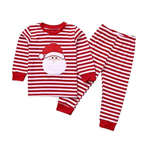 KYHS Pijama de Navidad para nios con dibujos animados de Pap Noel imagen en cuadros disfraz Tops + pantalones Pijamas para nios y nias