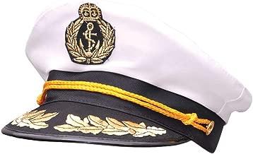 Nicky Bigs Novelties Yacht Captain Sea Skipper Hat, Black White Gold, One Size
