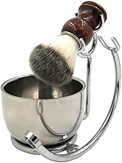 Professional Shaving Razor Brush Stand and Perfect double layer stainless steel Shaving Soap Bowl with Shaving Brush Natural Solid Wood Handle for Straight Razor,Safety Razor,Double Edge Razor