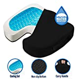 CUSHIONCARE Coccyx Pain Relief Pillow - Memory Foam and Cooling Gel with Water Resistant Cover, 14.2 x 16.2 x 2.7 - Cushion for Tailbone and Back