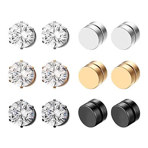 Aroncent Magnet Ohrringe 6 Paare Ohrstecker Edelstahl Rund Ohr Clips Non-Piercing Ohrschmuck 7/8mm für Herren Damen
