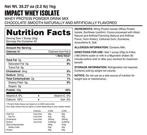 Myprotein Impact Whey Isolate Protein Chocolate Smooth, 1er Pack (1 x 1 kg) - 7