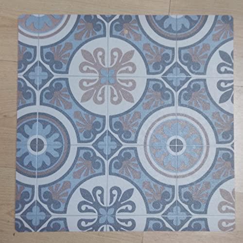 Alfombra PASO VINILICA Mendy imitación baldosa, vinílico de PVC, fácil Limpieza y Antideslizante (CP Azul, 60_x_125_cm)