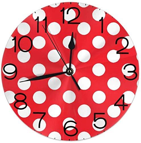 Night Ing Reloj de Pared Redondo Estante Reloj Retro Lunares Rojos y Blancos Impreso para el hogar Casa Oficina Escuela Decorativa