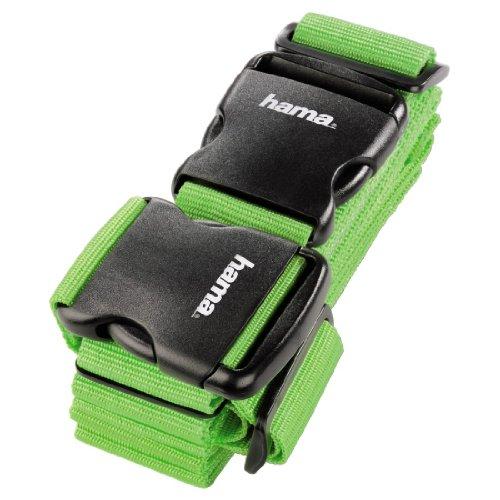 Hama 2-Wege-Gepäckgurt (doppeltes Band zum sicheren Verschließen der Koffers auf Reisen, 5 x 200 und 5 x 230 cm) grün