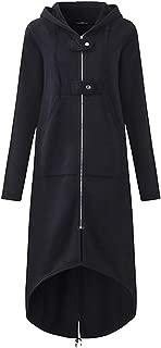 Dawwoti Women's Maxi Long Hoodies Coat Zipper Hooded Casual Top
