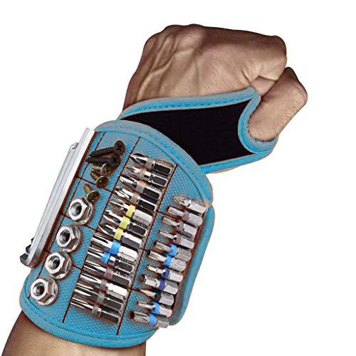 JDJQ HERRAMIENTE para Hombres Herramientas MAGNÉTICAS Pulseras con 16 Imanes Potentes, Gadgets Regalos para Hombres Padre Carpintero Blue