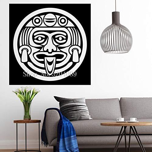 TYLPK Kühle Vinyl Aufkleber Wandaufkleber Dekoration Aztec Gesichtsmaske Kult der Maya Götter Wohnzimmer Schlafzimmer Kunst Wandbilder Geschenk YY630 56x56 cm